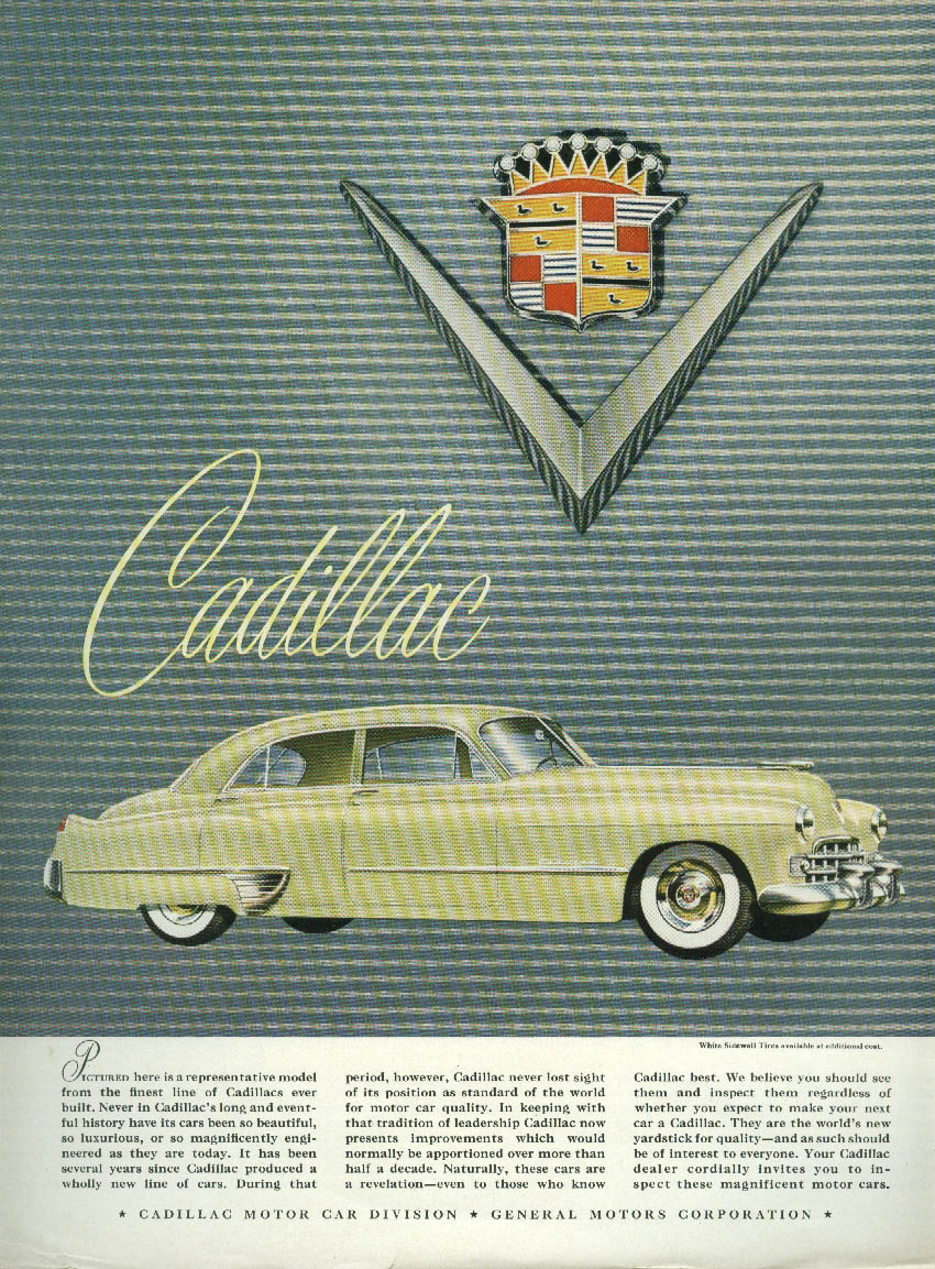 Pictured here is a representative model Cadillac 4-door sedan ad 1948 NY