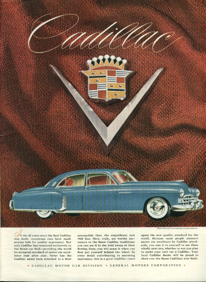 In the 45 years since the first one Cadillac 4-door sedan ad 1948 NY