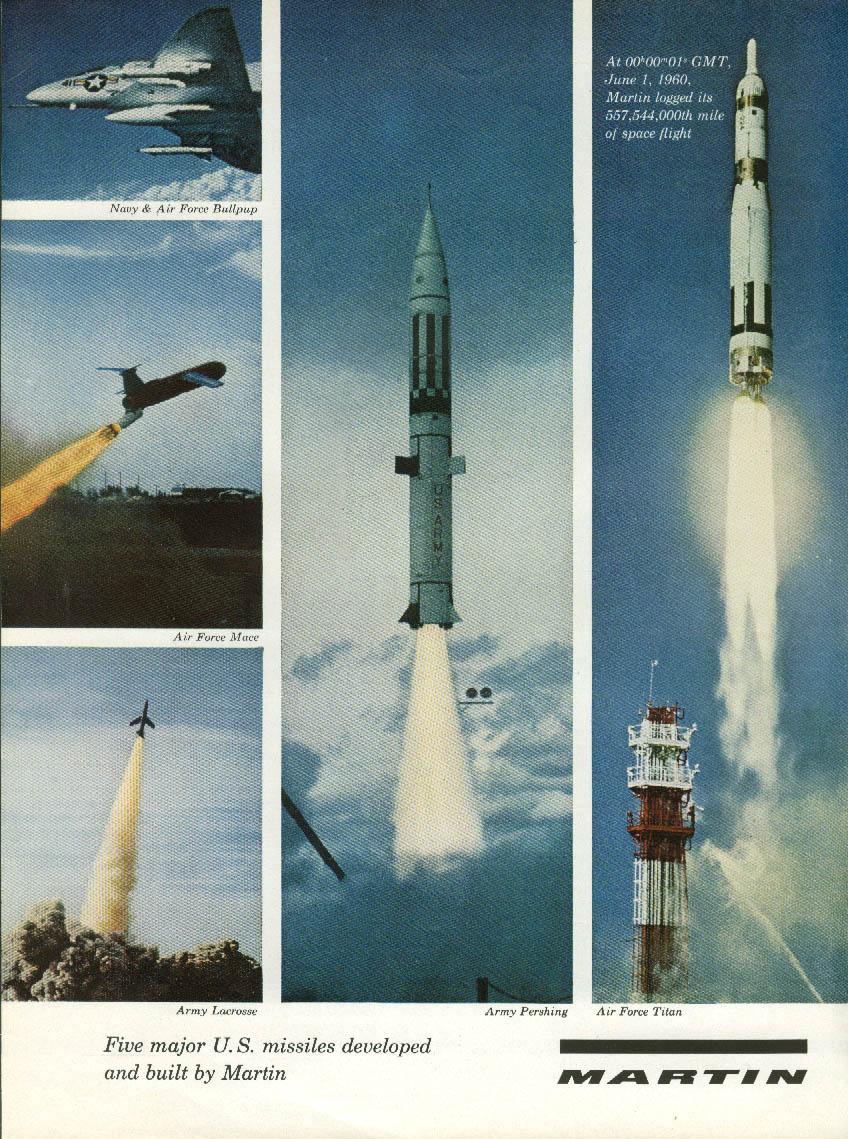5 major US Missiles by Martin ad 1960 Bullpup Mace Lacrosse Pershing Titan