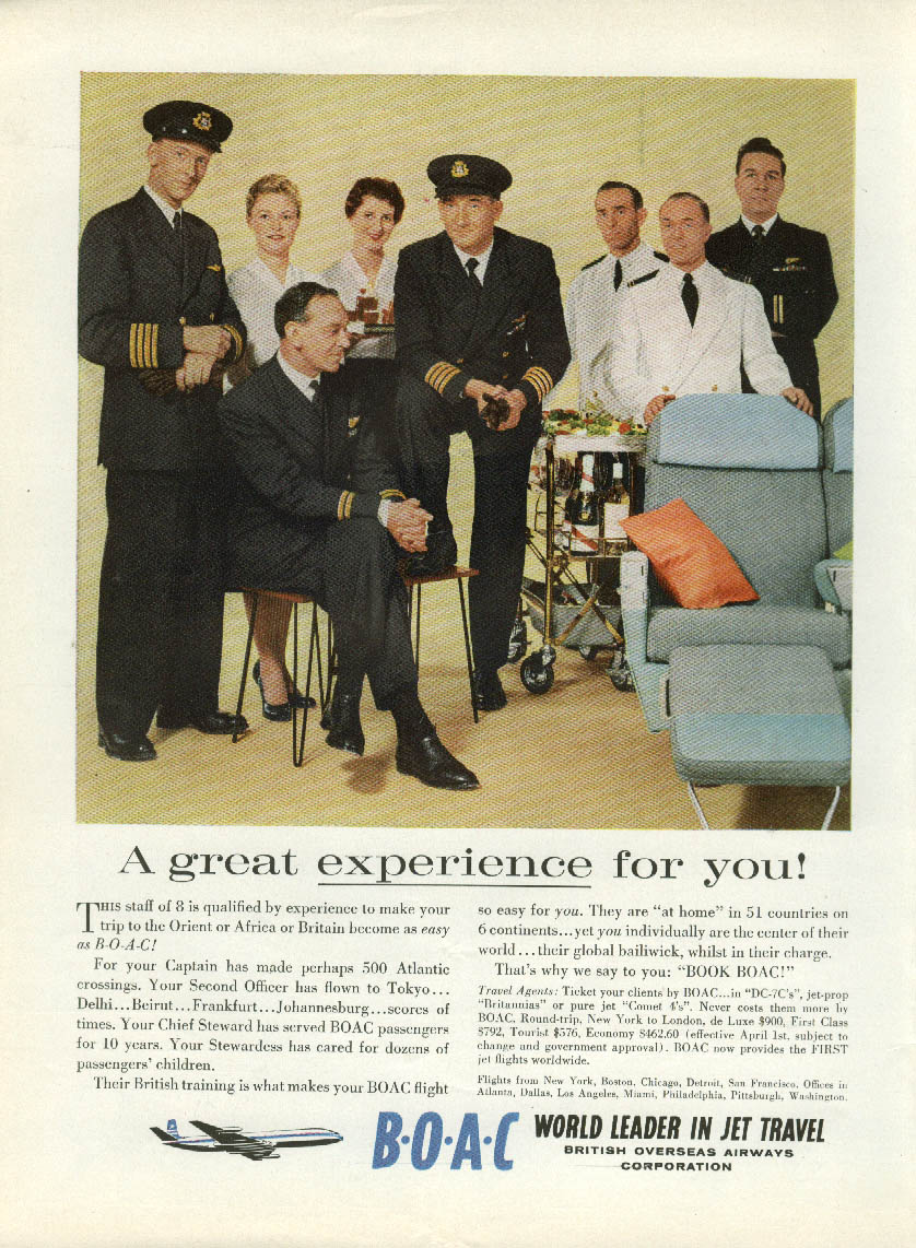 A great experience for you! BOAC ad 1959 flight crew steward stewardesses