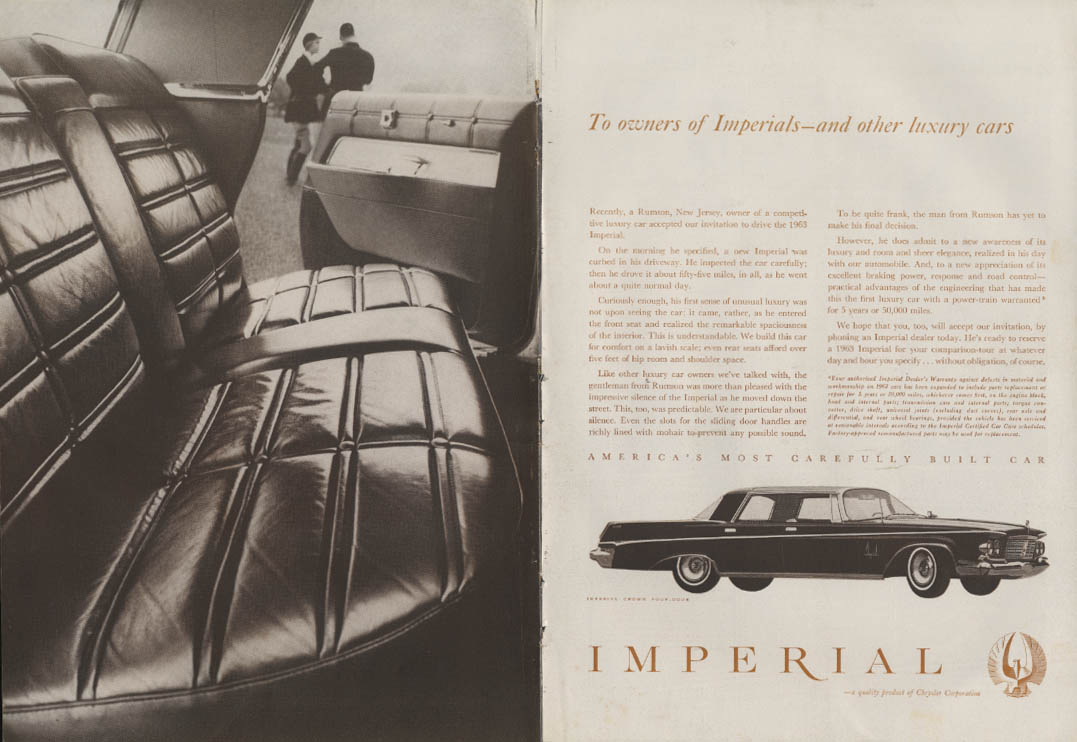 Image for To owners of Imperials & other luxury cars Imperial by Chrysler ad 1963