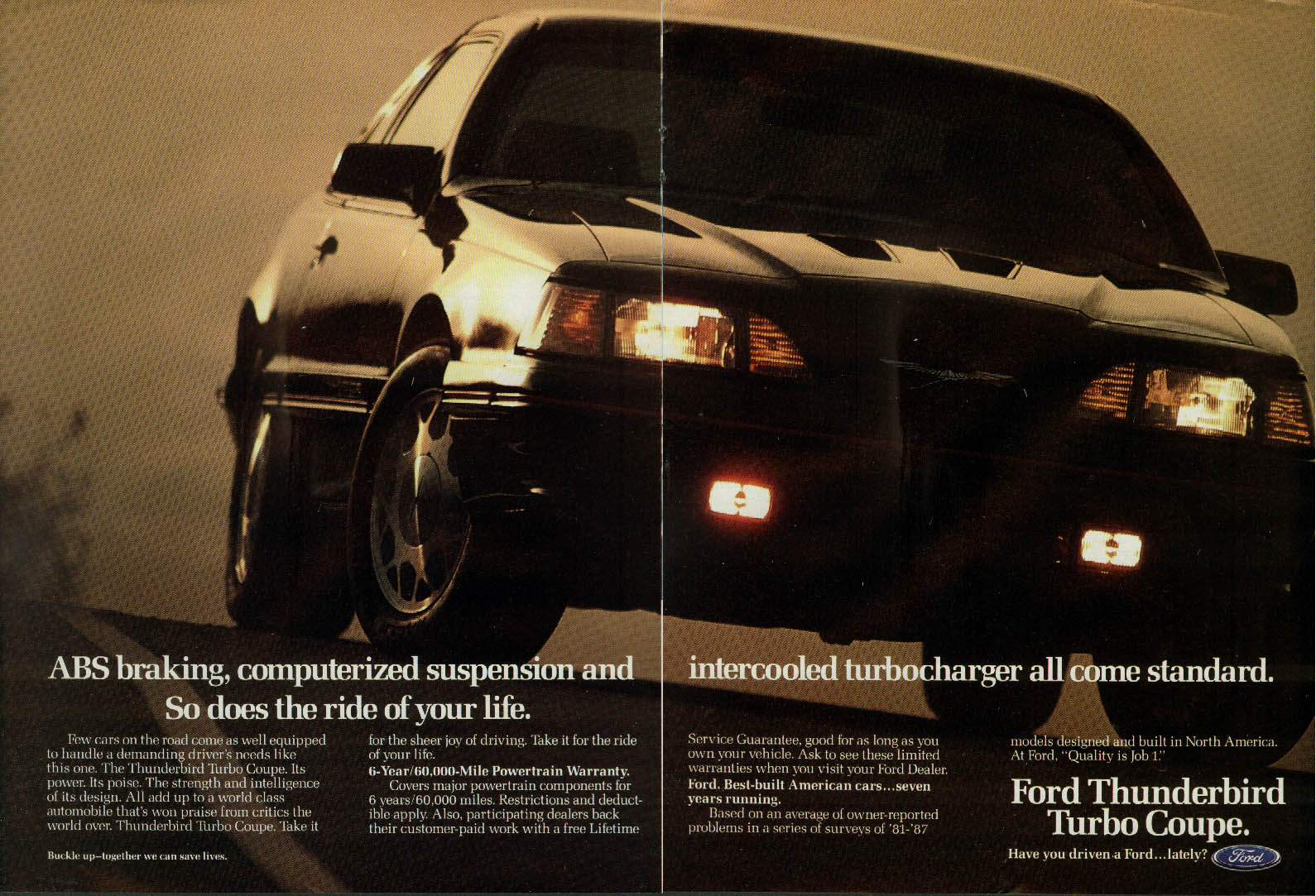 ABS braking intercooled turbocharger . . . Ford Thunderbird Turco Coupe ad 1988