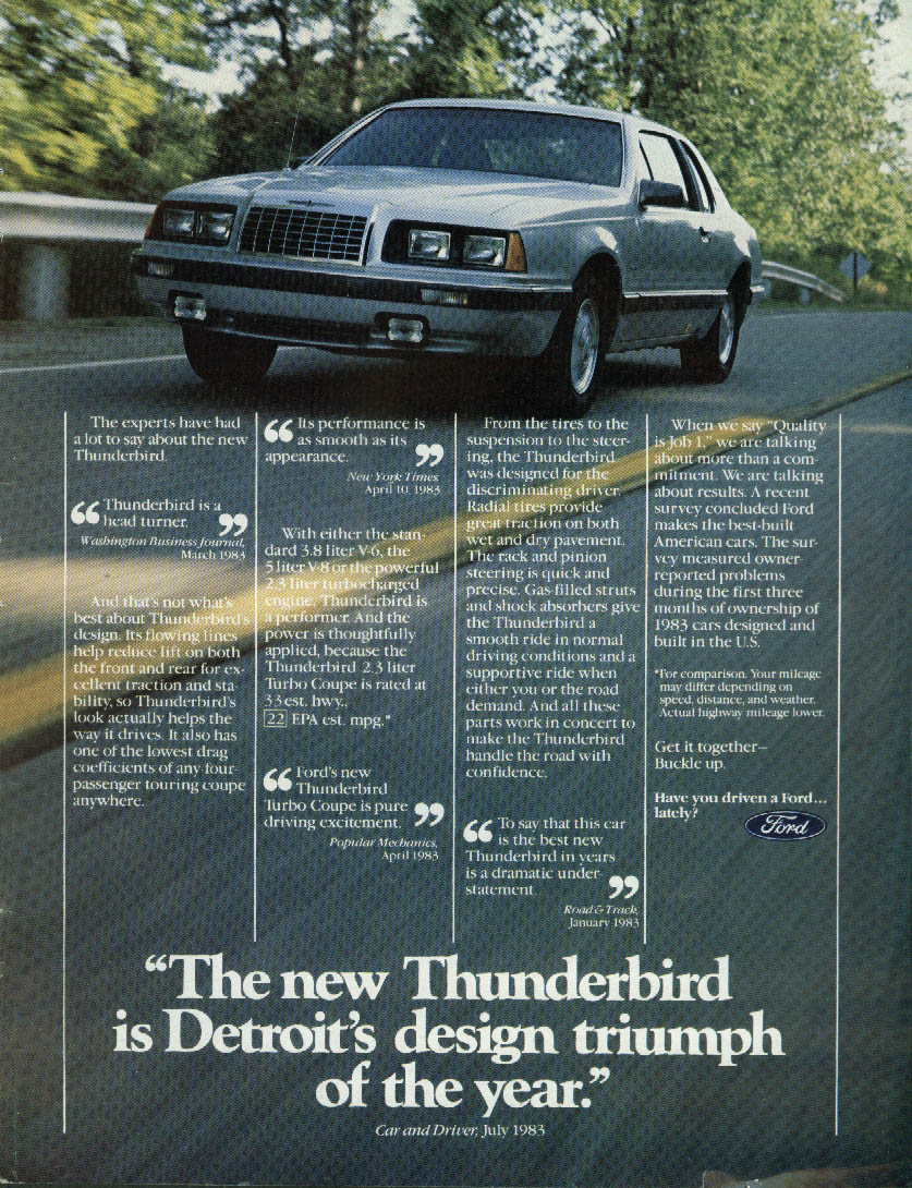 Detroit's design triumph of the year Ford Thunderbird Turbo Coupe ad 1984
