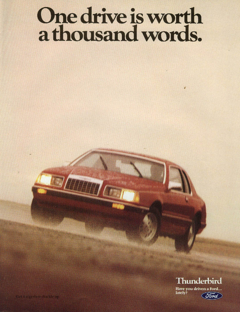 Image for One drive is worth a thousand words Ford Thunderbird ad 1984