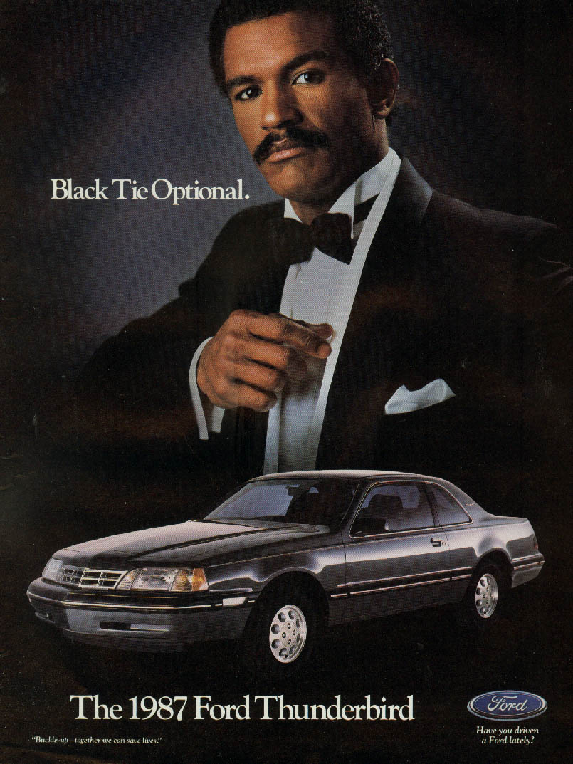 Black Tie Optional. Ford Thunderbird ad 1987 Negro male model