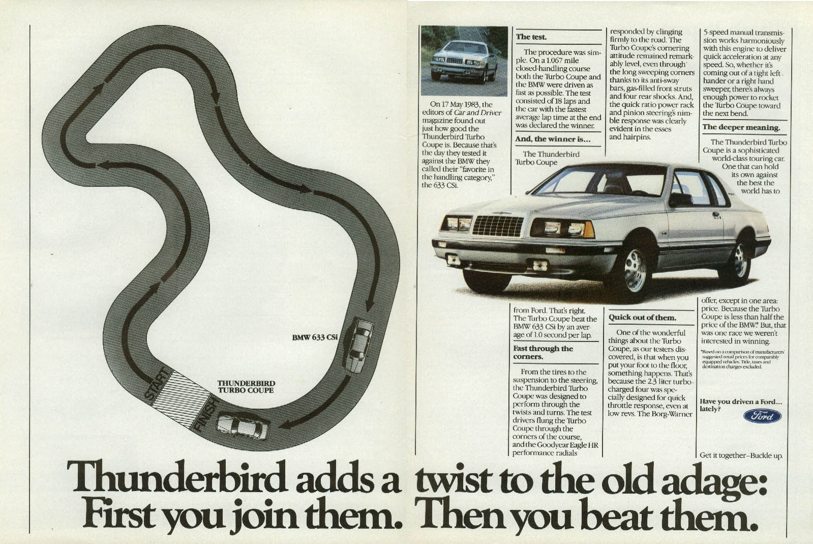Image for First you join them. Then you beat them Ford Thunderbird Turbo Coupe ad 1984