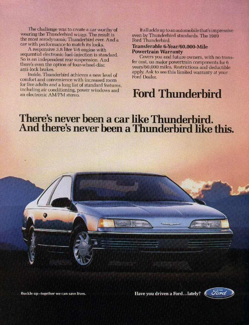 Image for There's never been a Ford Thunderbird like this ad 1989