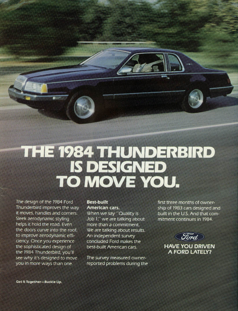 Designed to move you. Ford Thunderbird ad 1984