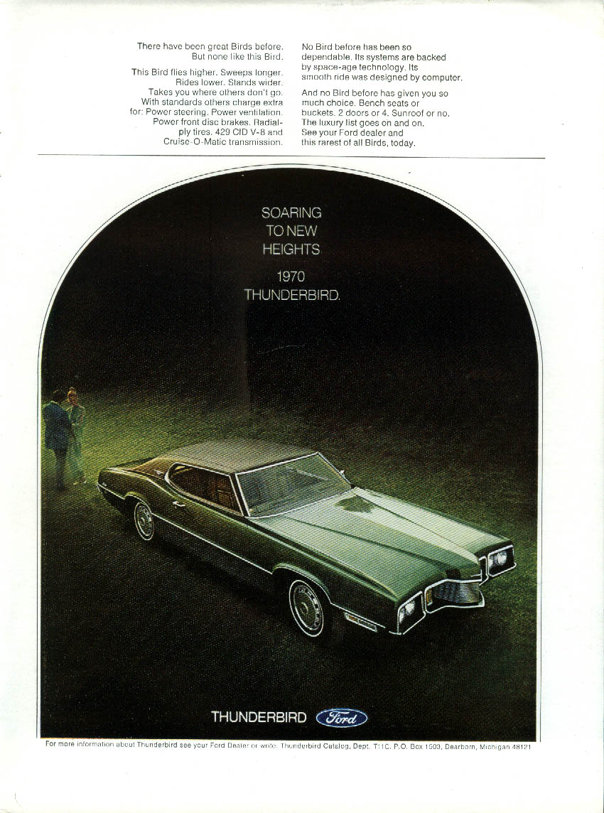 Image for Soaring to new heights. Ford Thunderbird ad 1970 New Yorker
