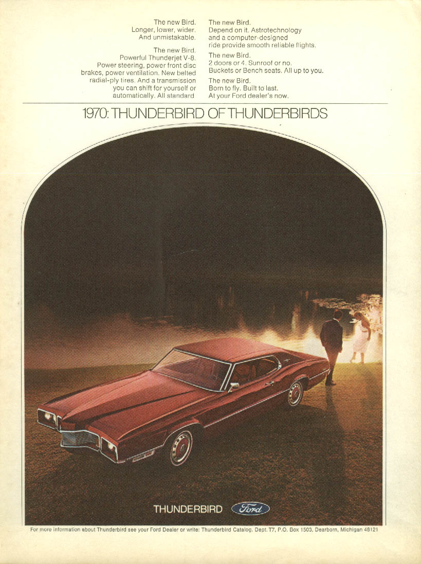 Image for Longer lower wider & unmistakable Ford Thunderbird ad 1970 Venture