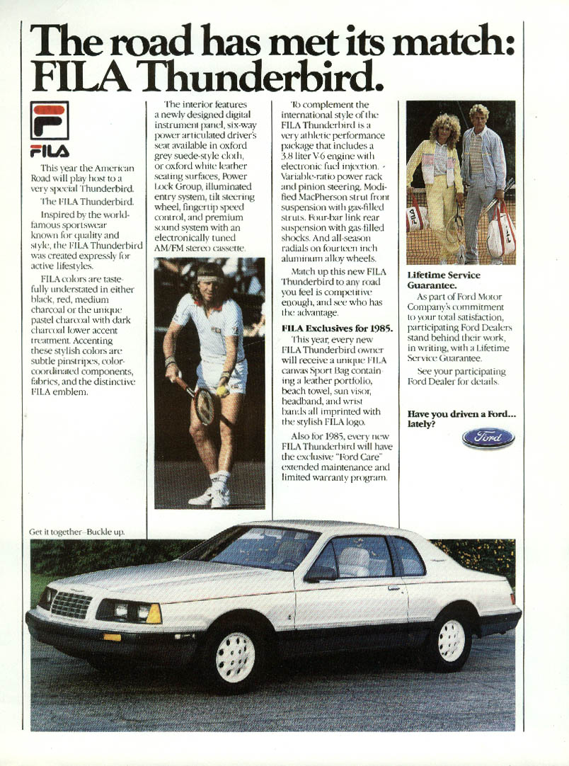 Image for Ford Thunderbird met its match Bjorn Borg FILA ad 1985 New Yorker
