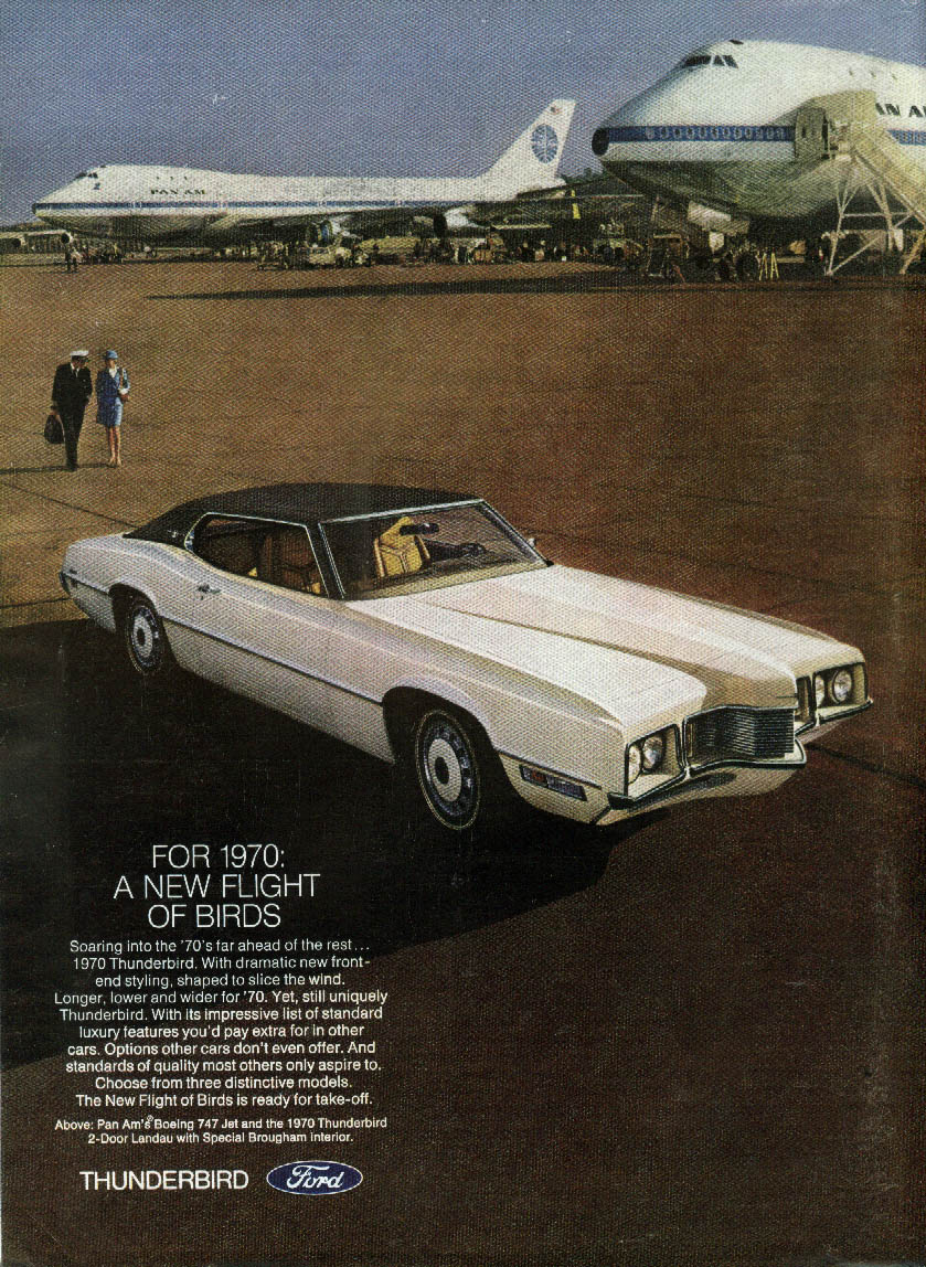 A New Flight of Birds. Ford Thunderbird & Boeing 747 ad 1970