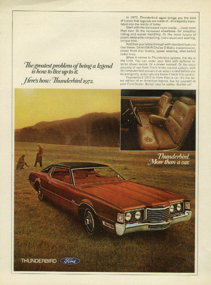 Image for Ford Thunderbird Greatest problem is how to live up to a legend ad 1972 SI
