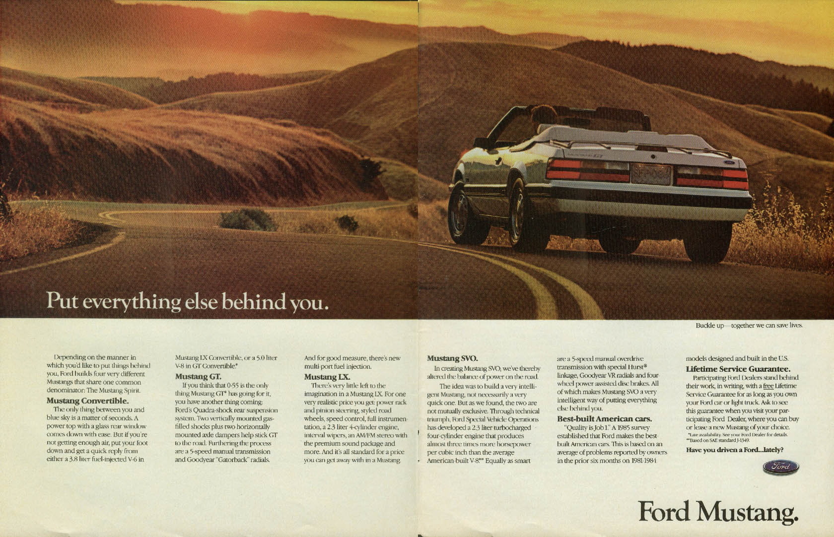 Image for Put everything else behind you. Ford Mustang GT ad 1986