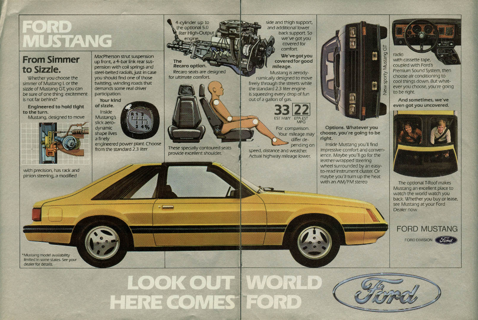 Image for From Simmer to Sizzle. Ford Mustang ad 1982