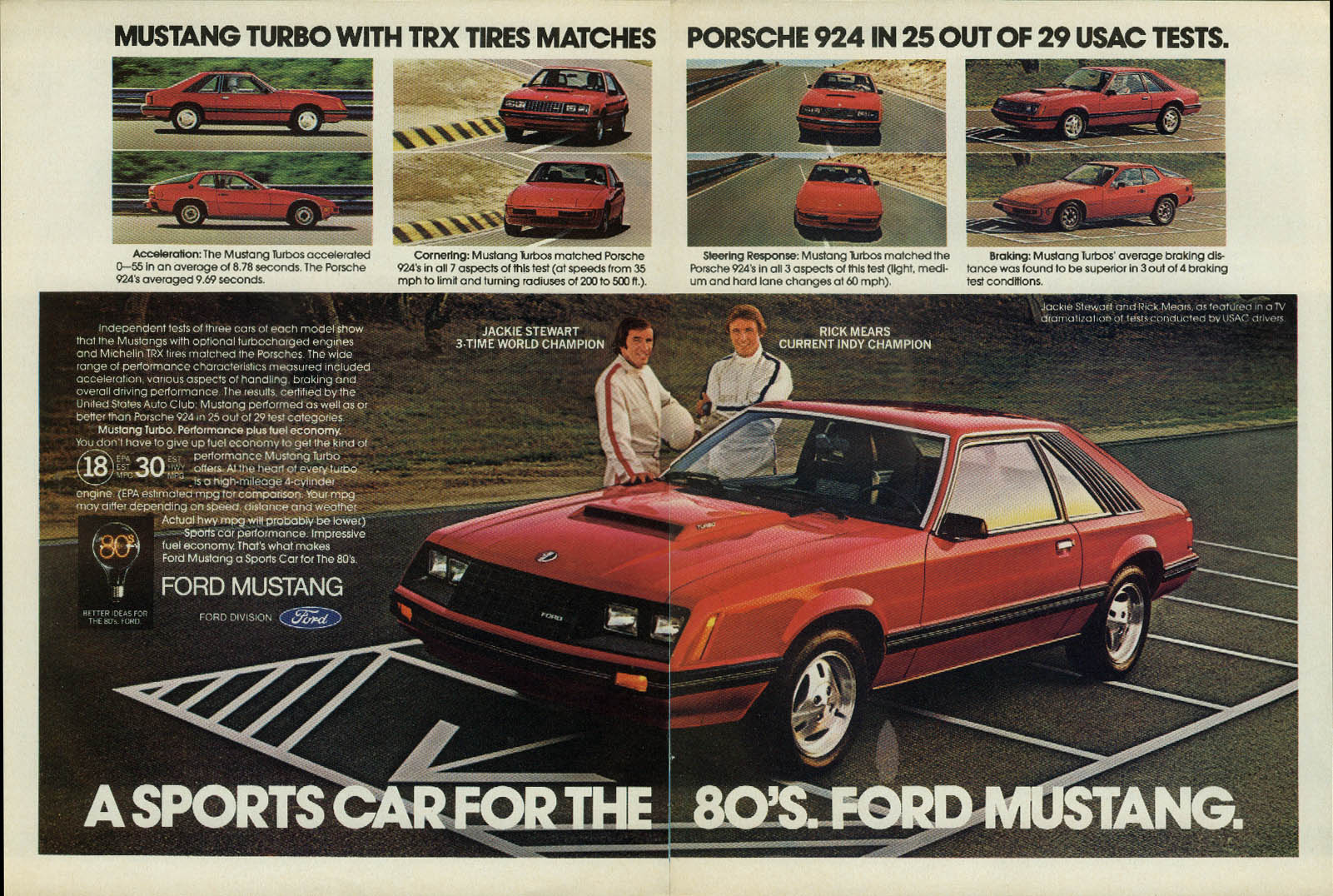 A sports car for the 80s Ford Mustang ad 1980 Jackie Stewart Rick Mears