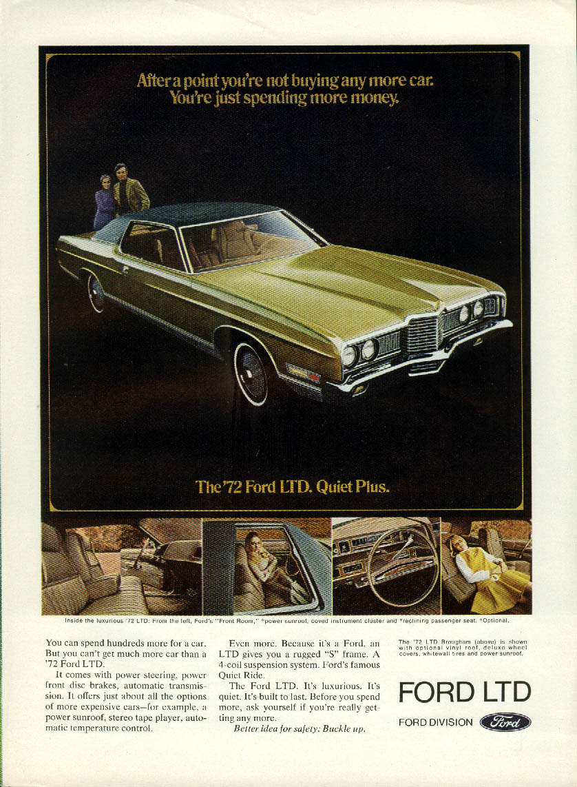 After a point you're just spending more money Ford LTD Coupe ad 1972