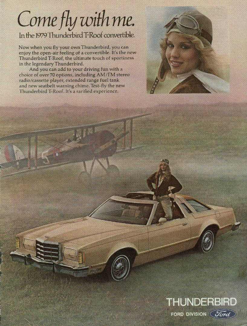 Come fly with me. Ford Thunderbird T-roof Convertible ad 1979