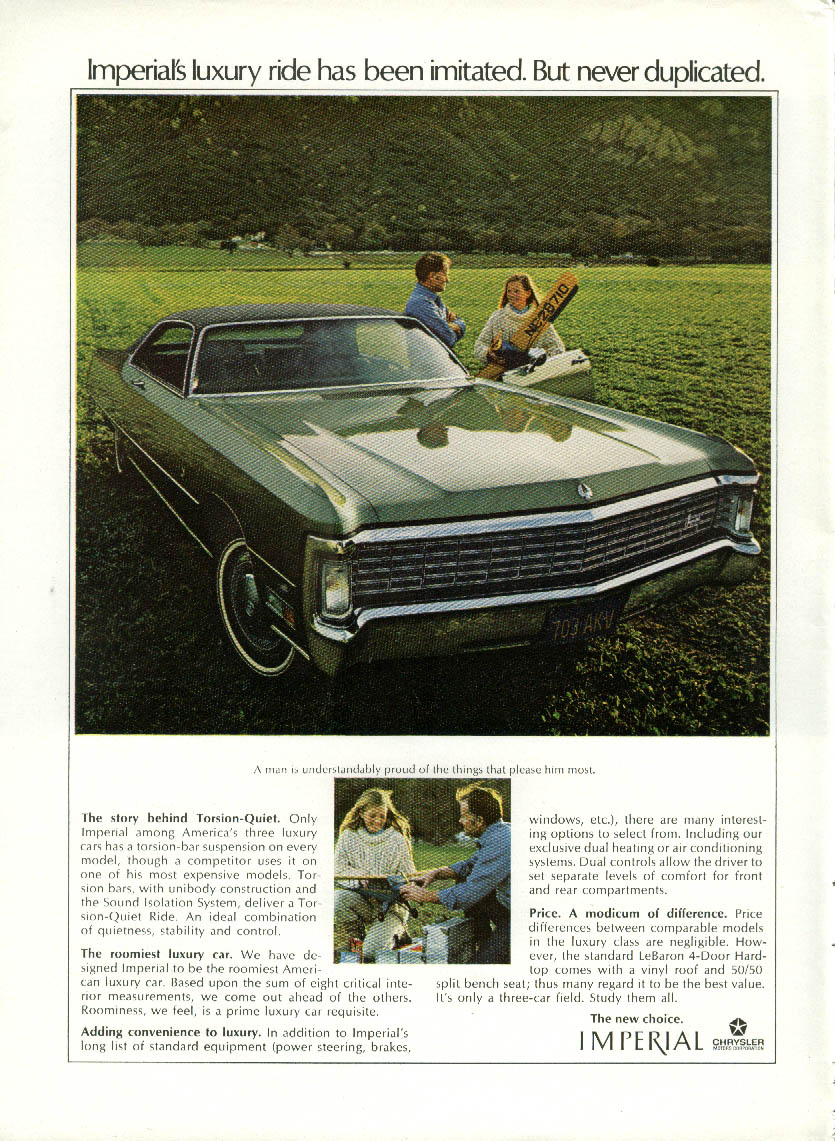 Image for Luxury ride imitated never duplicated Imperial by Chrysler ad 1970 green coupe