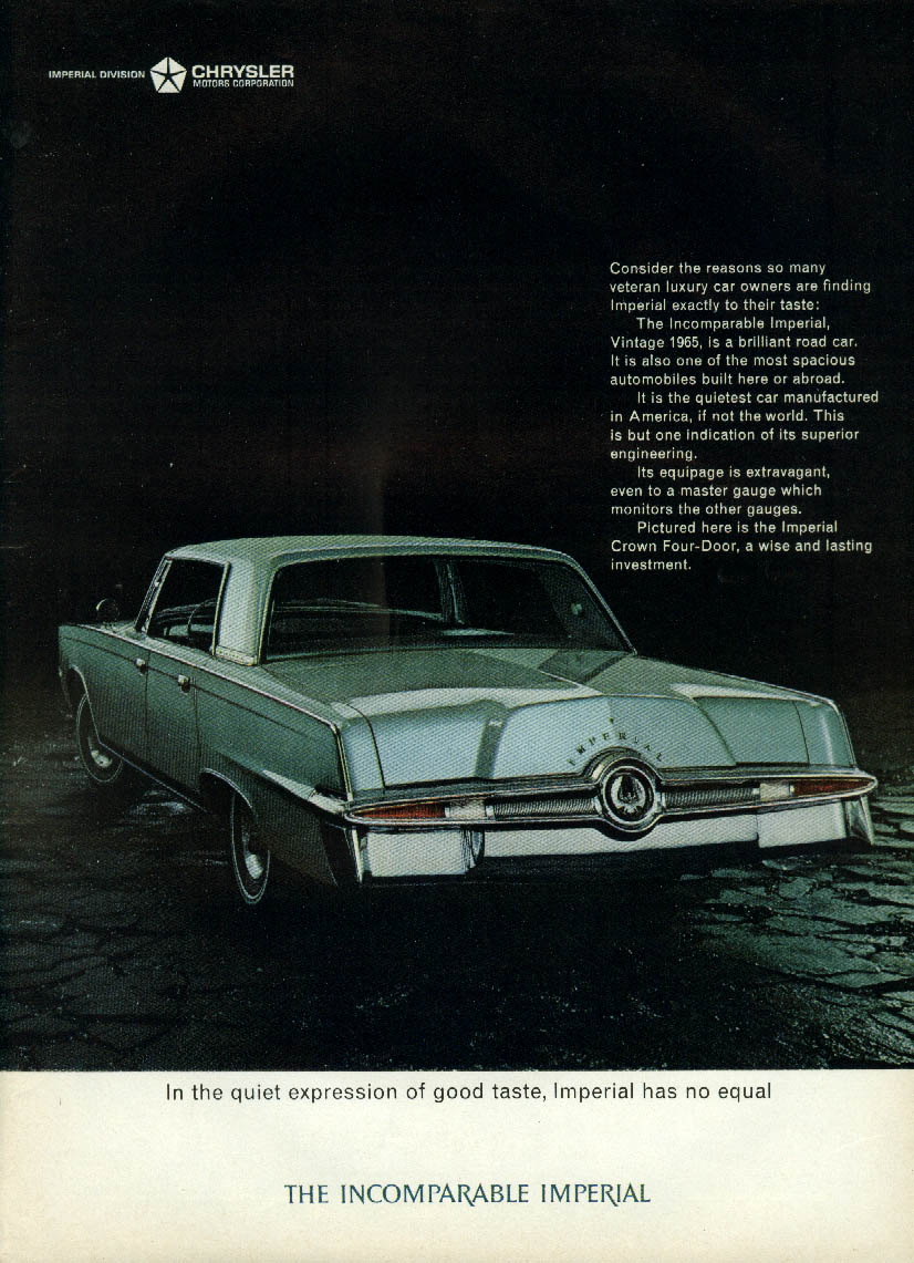 Image for In the quiet expression of good taste Imperial by Chrysler has no equal ad 1965