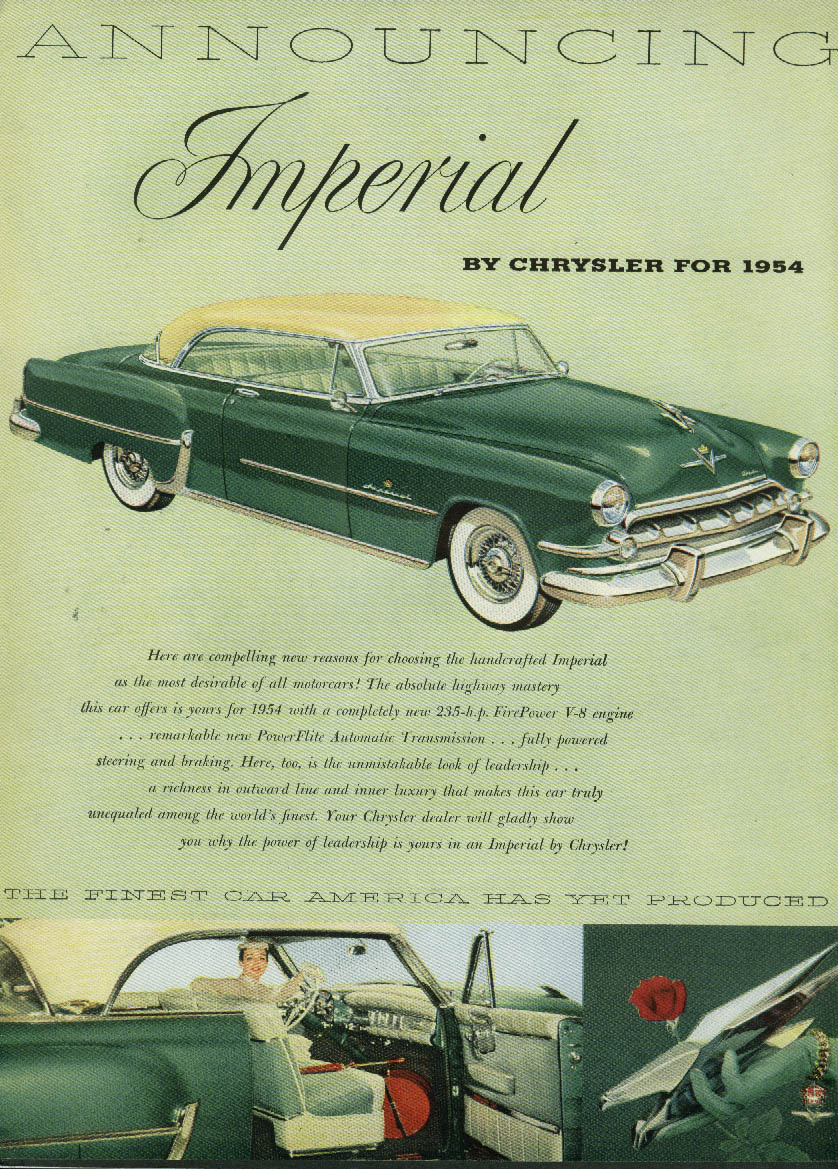 Image for Compelling new reasons for choosing the handcrafted Imperial by Chrysler ad 1954