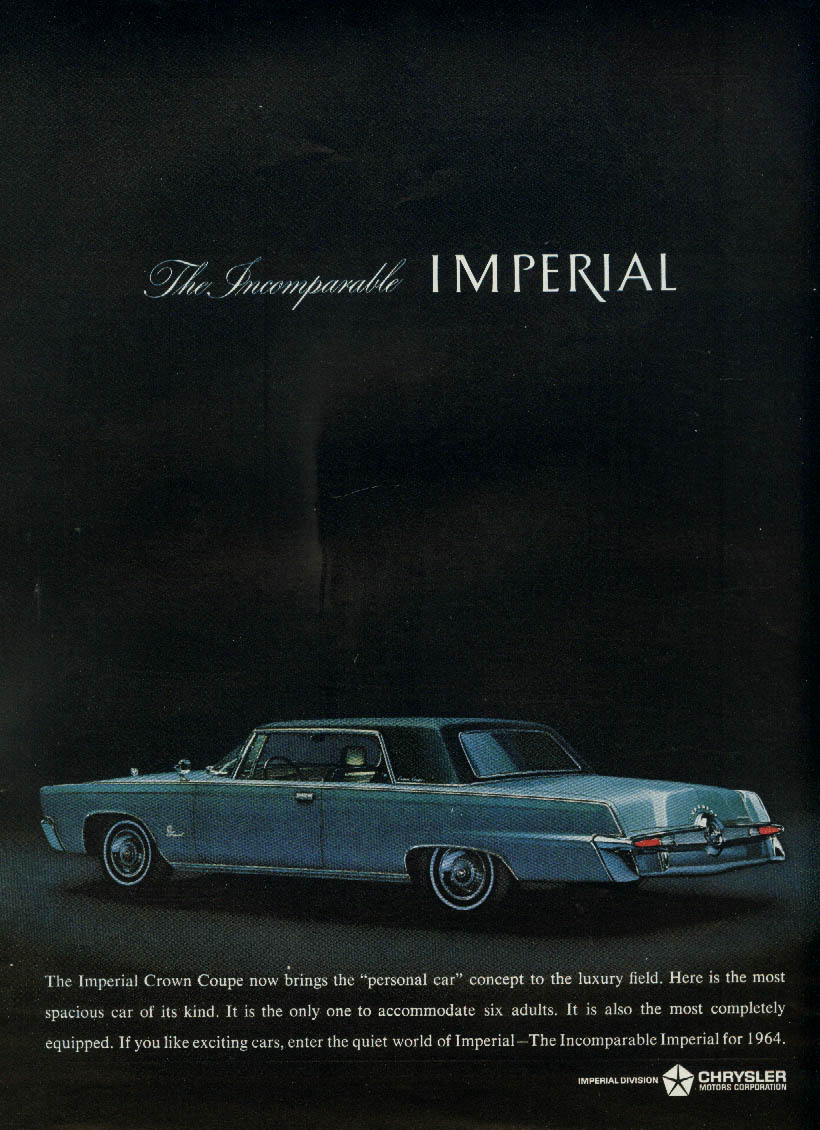 Brings the personal car concept to the luxury field Imperial by Chrysler ad 1964