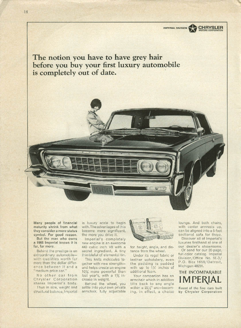 Image for The notion of grey hair is completely out of date Imperial by Chrysler ad 1966
