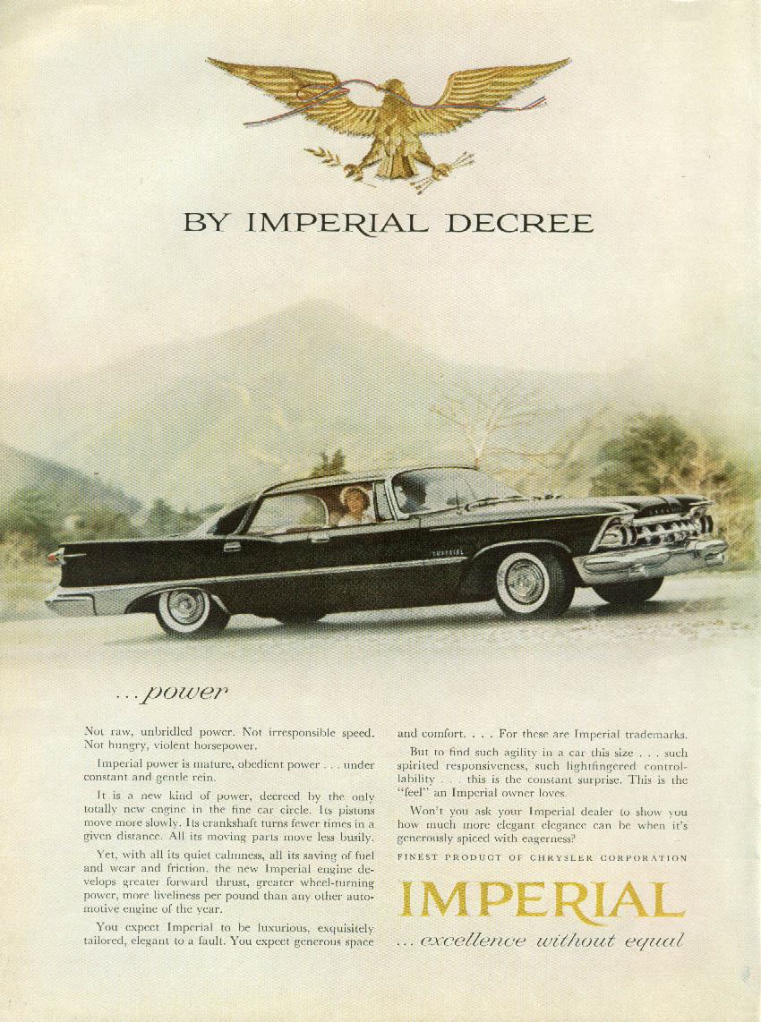 Image for Power - not raw unbridled, not irresponsible speed Imperial by Chrysler ad 1959