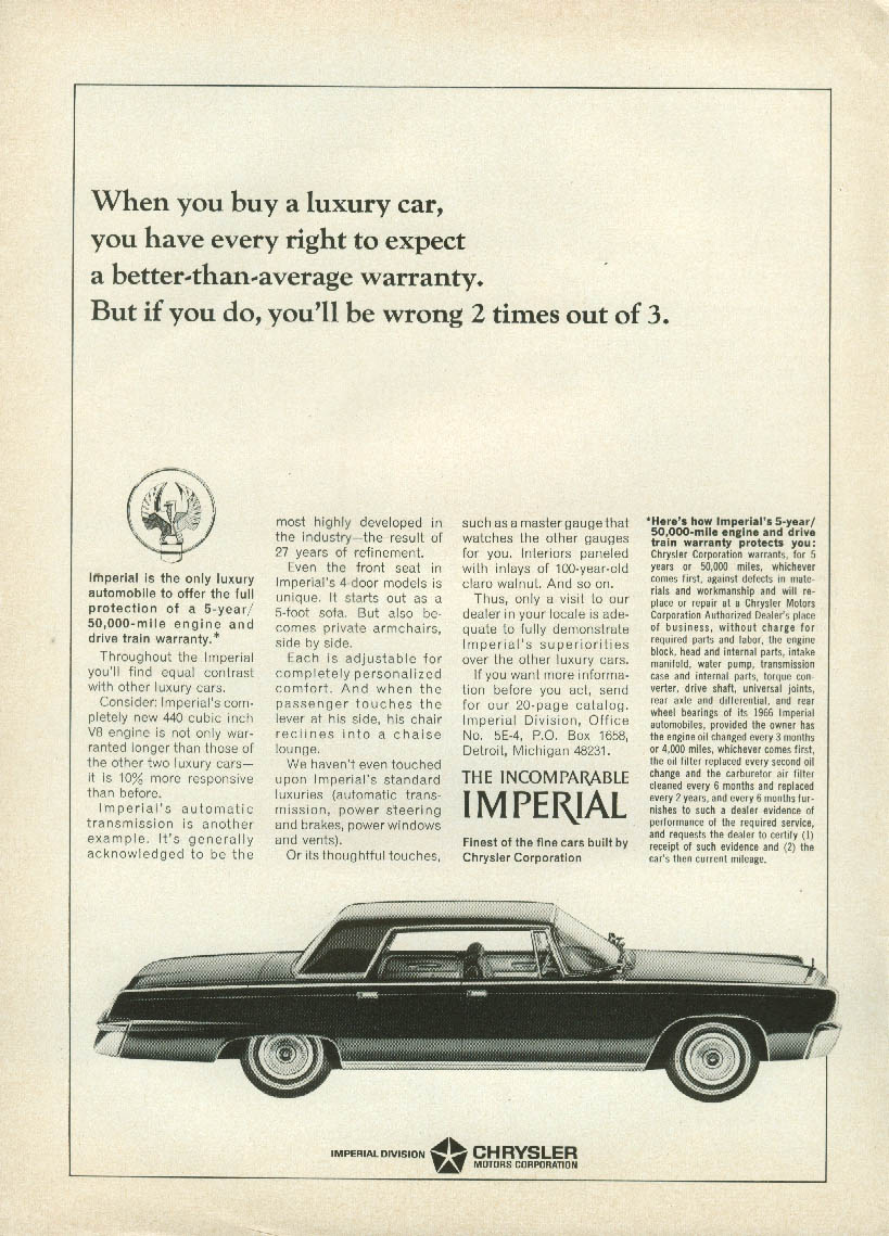 A better-than-average warranty? Wrong 2 out of 3 Imperial by Chrysler ad 1966