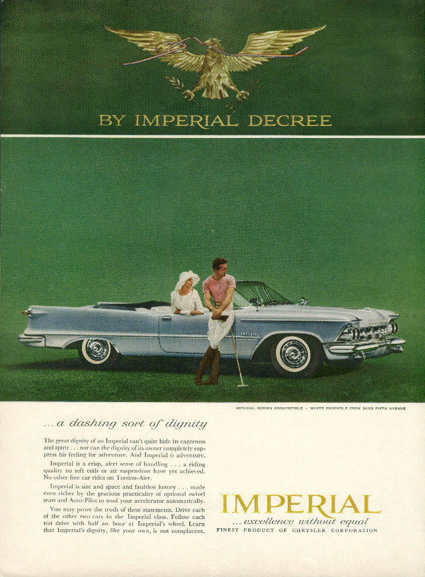 A dashing sort of dignity Imperial Convertible by Chrysler ad 1959
