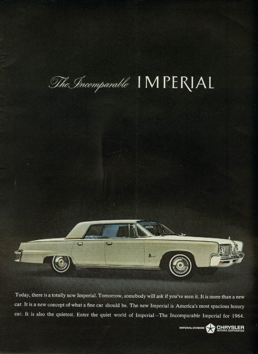 Image for Tomorrow somebody will ask if you've seen it Imperial by Chrysler ad 1964