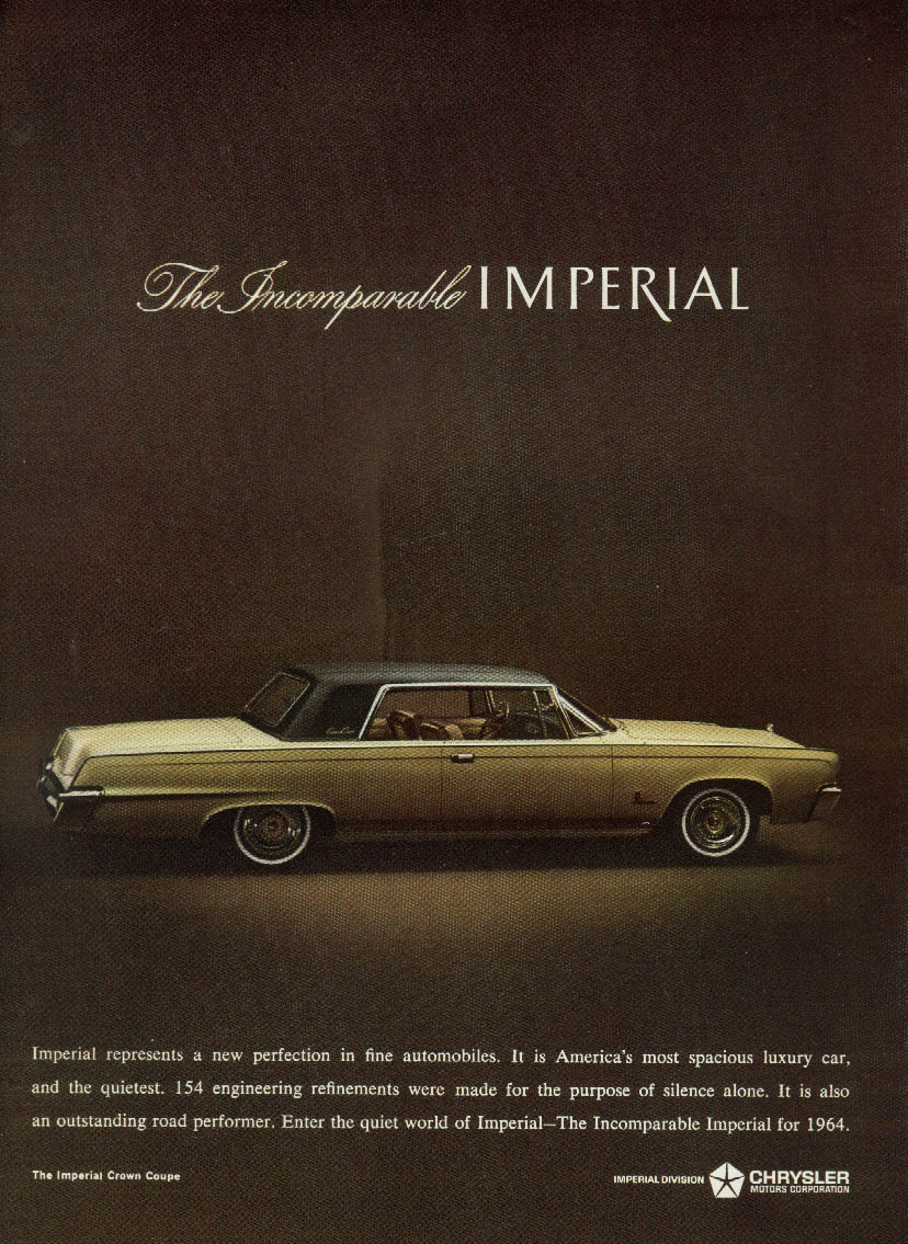 A new perfection in fine automobiles Imperial Crown Coupe by Chrysler ad 1964