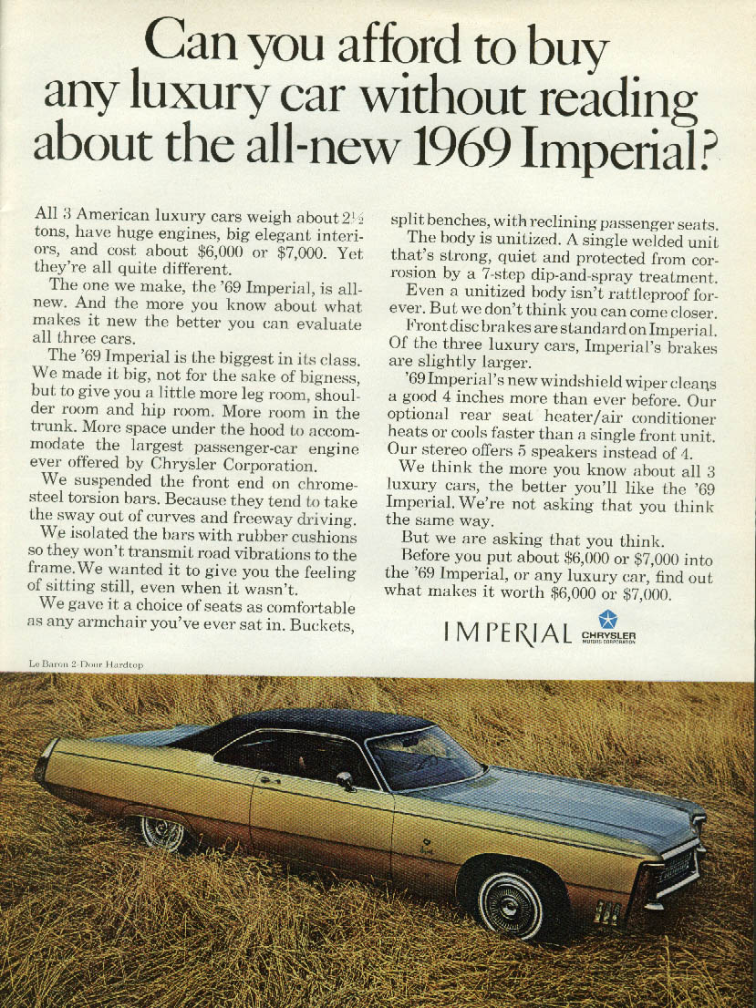 Image for Can you afford any luxury car without reading about Imperial by Chrysler ad 1969