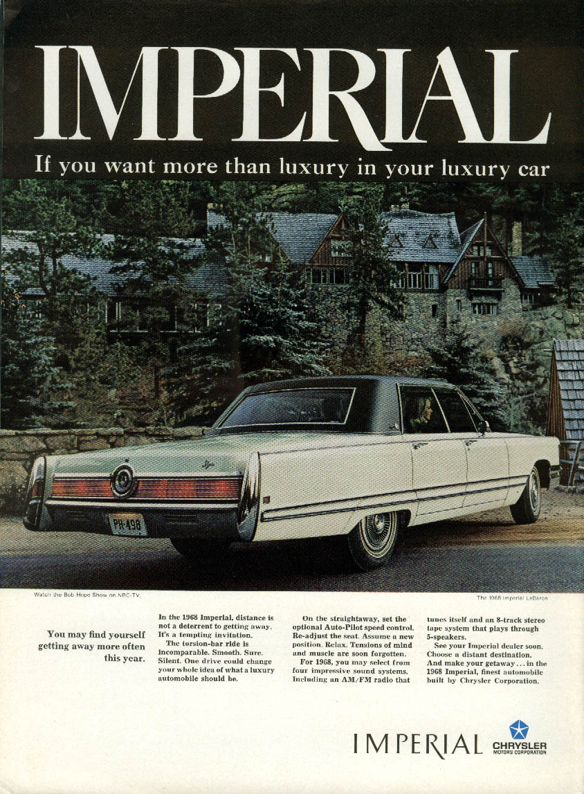 Image for Find yourself getting away more often Imperial LeBaron by Chrysler ad 1968