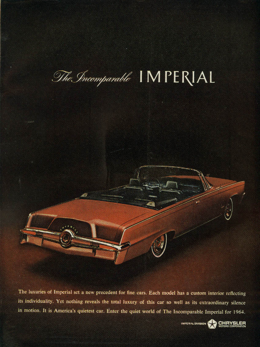 Image for Extraordinary silence in motion Imperial Convertible by Chrysler ad 1964