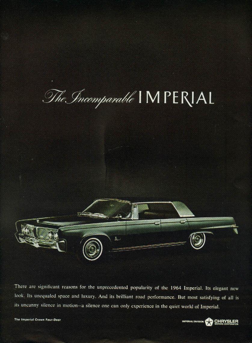 Image for Significant reasons for unprecedented popularity Imperial by Chrysler ad 1964