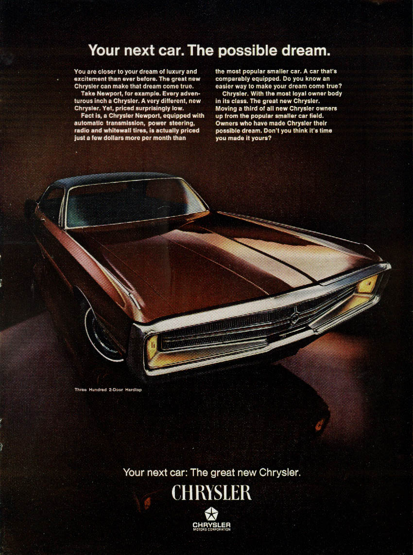 Image for Your next car. The possible dream Chrysler 300 2-door Hardtop ad 1969