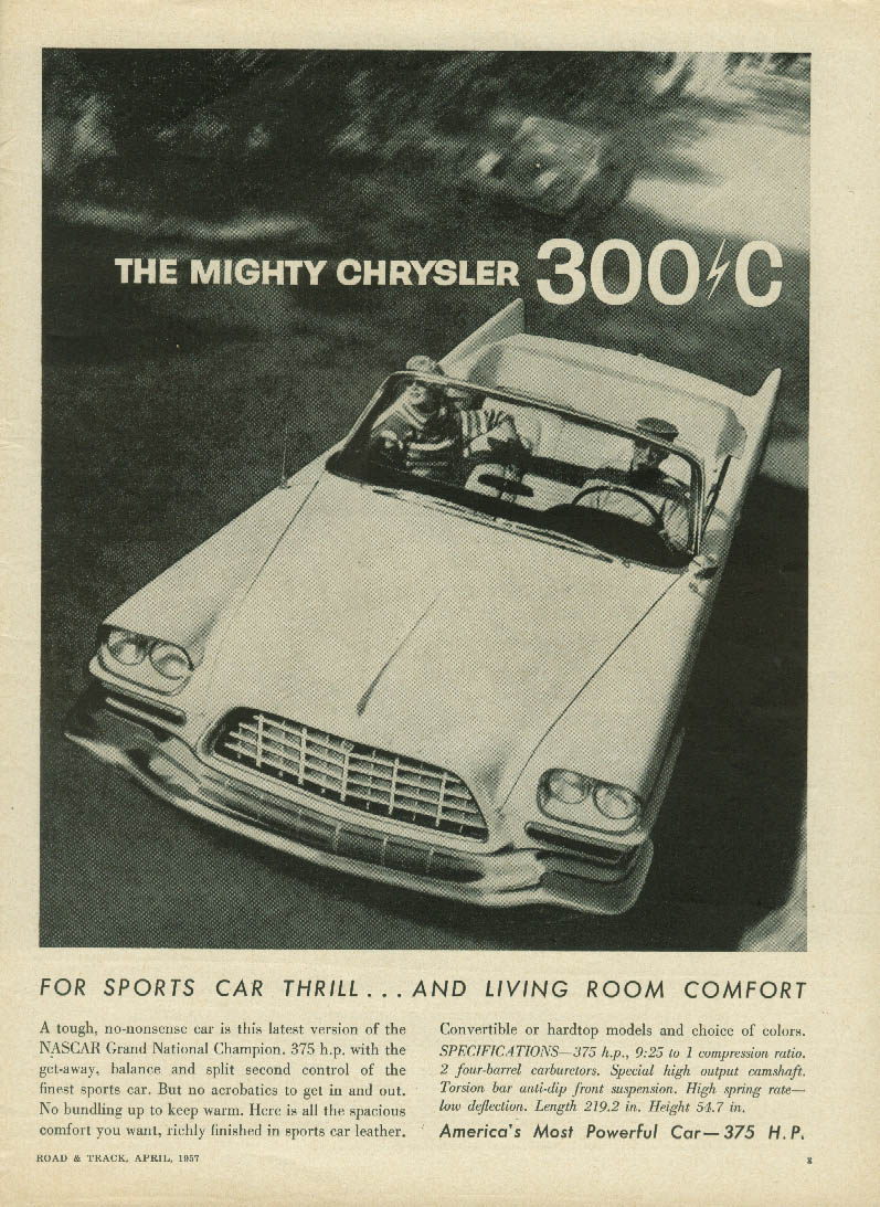 Sports car thrill - living room comfort Chrysler 300-C Convertible ad 1957 MT