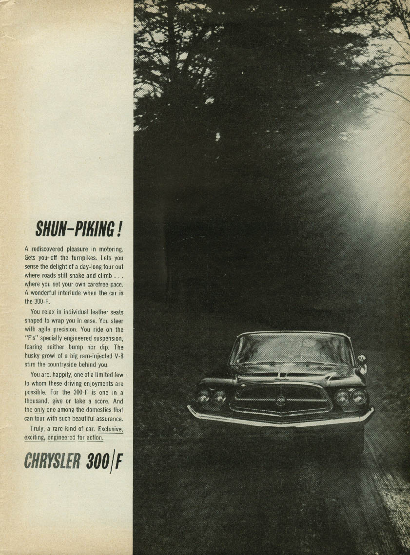 Image for Shun-piking! A rediscovered pleasure Chrysler 300-F ad 1960