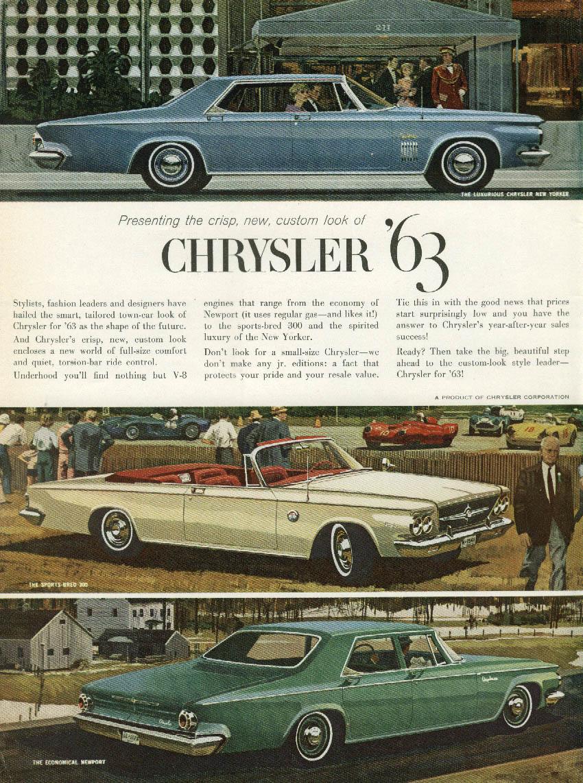 Image for Crisp new custom look Chrysler New Yorker 300 & Newport ad 1963
