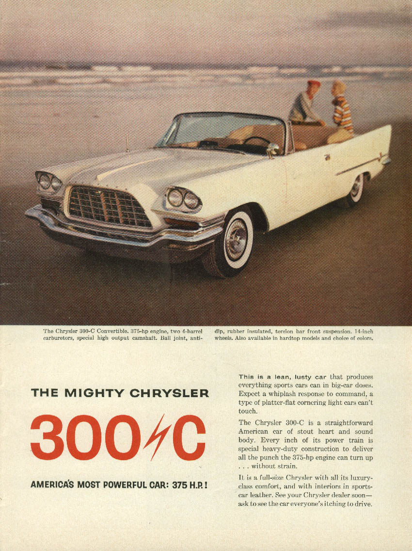 A lean lusty Chrysler 300-C Convertible / Cdr Whitehead sails Schweppes ad 1957