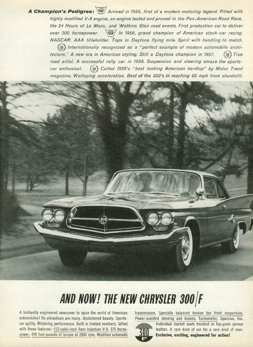 A Champion's Pedigree - and Now! Chrysler 300-F ad 1960