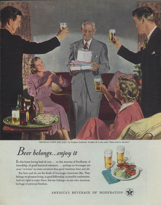 Beer Belongs: Birthday Party for Dad by Douglass Crockwell ad 1949