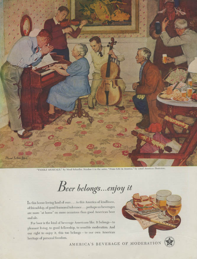 Beer Belongs: Family Musicale by Mead Schaeffer ad 1947
