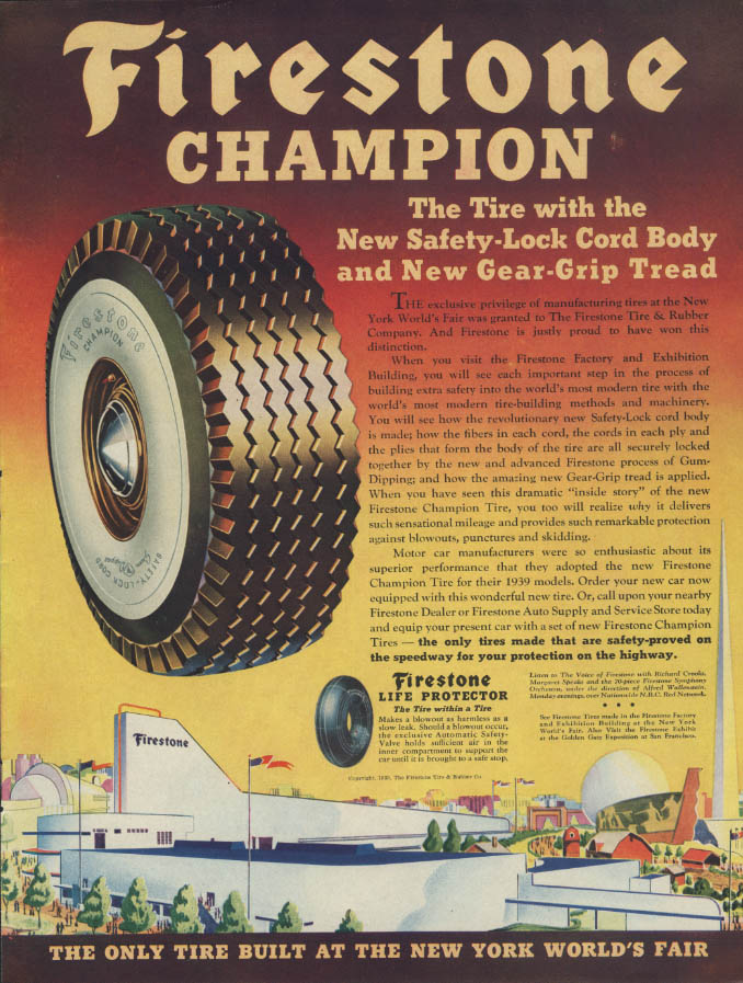 Firestone Champion Safety-Lock Cord ad 1939 New York World's Fair Life