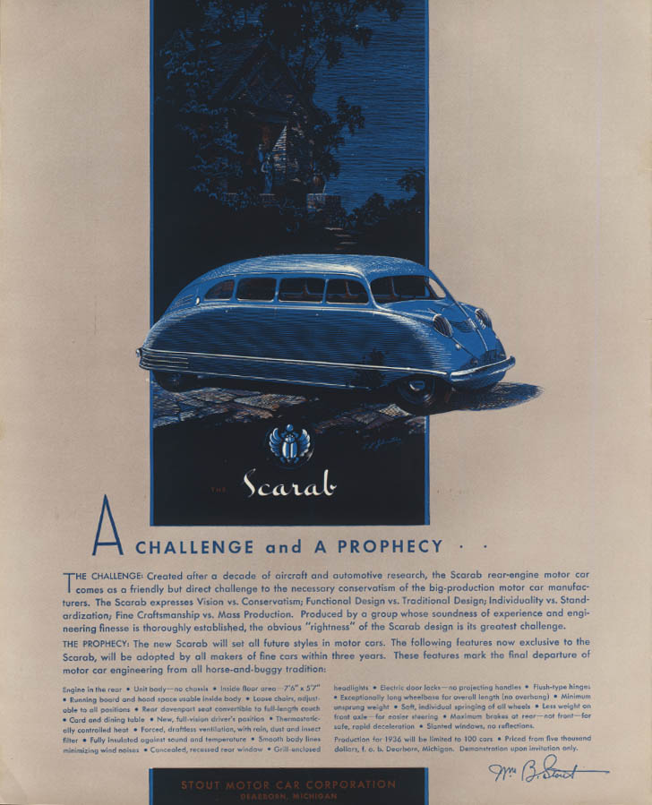 A challenege & a prophecy Stout Motor Car Scarab ad 1935 Fortune