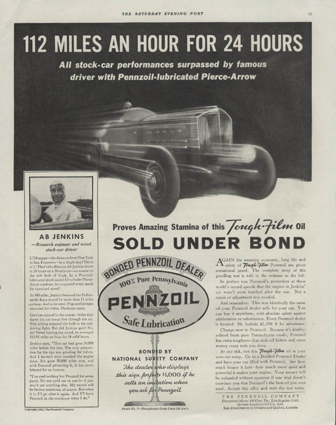 112 miles an hour for 24 hours Ab Jenkins Pierce-Arrow Pennzoil ad 1933 SEP