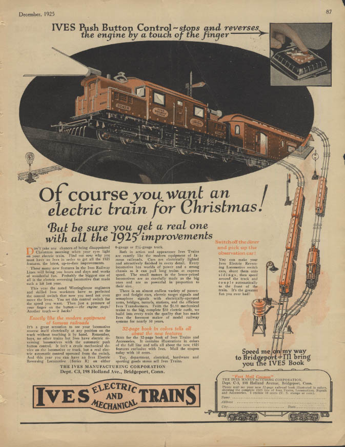 Image for Of course you want an electric train for Christmas Ives Trains ad 1925