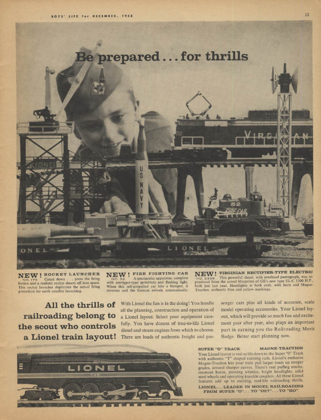Be prepared for thrills Lionel Electric Trains ad 1958 Virginian EL-C +++