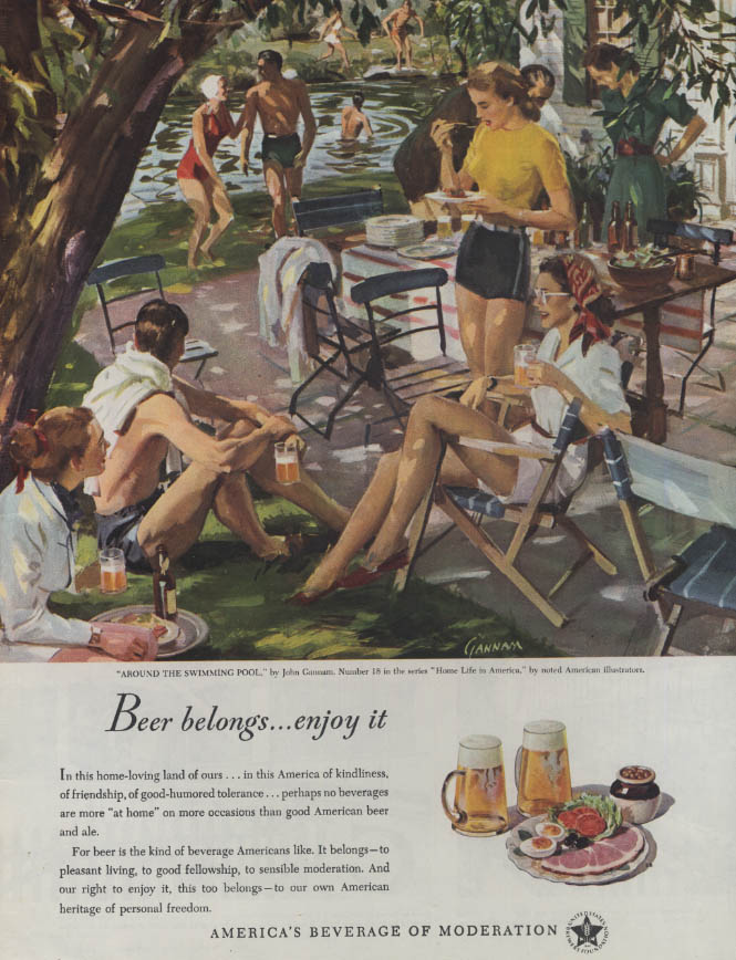 Beer Belongs: Around the Swimming Pool by John Gannam ad 1948 WHC